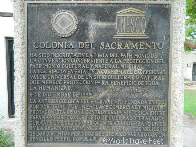 Placa del nombramiento de Colonia de Sacramento Patrimonio de la UNESCO