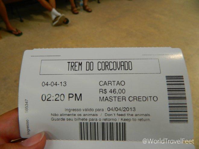 Ticket para subir al Corcovado.