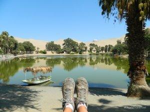 Caminando el oasis natural de Huacachina.