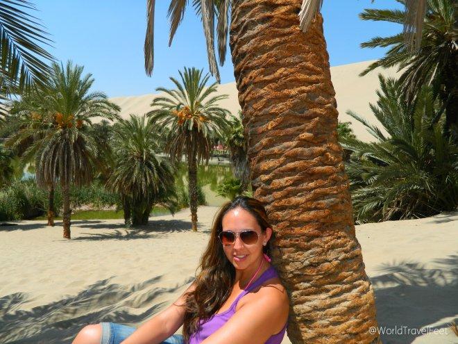 Descansando bajo las palmeras.