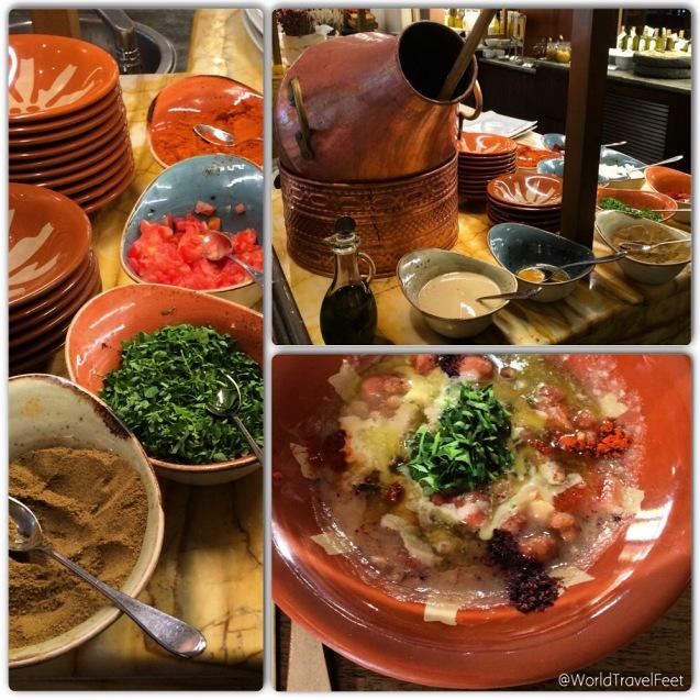 Ful - Fava Beans, desayuno típico jordano a base de frijoles cocidos en una olla de cobre a los que se les agrega paprika y varias especias más. Tiene un sabor entre salado y acidito.