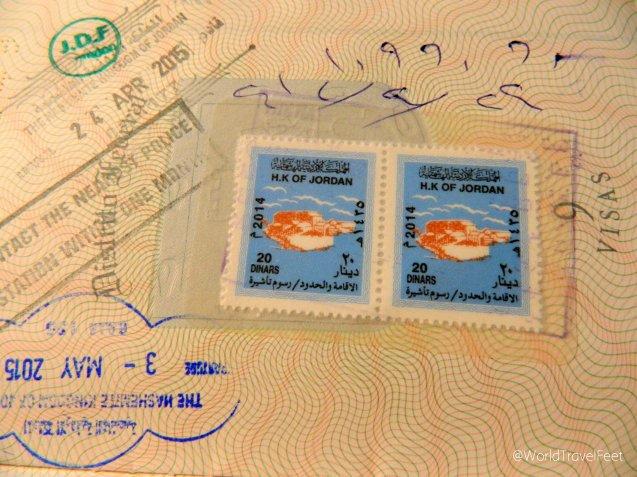 Visa Jordana, cuesta 40 Dinares Jordanos, unos 850 Pesos aprox.