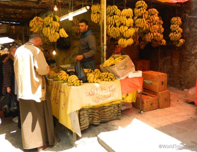 Puesto de plátanos en el Mercado de Ammán.