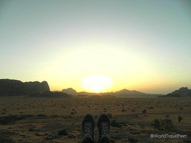 Atardecer en el desierto de Wadi Rum.